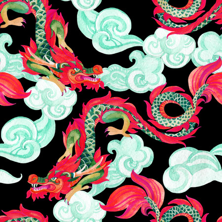 speculative: Chinese Dragon seamless pattern. Traditional symbol of dragon. Watercolor hand painted illustration. Stock Photo