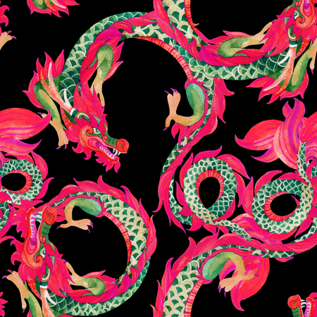 japanese ethnicity: Chinese Dragon seamless pattern. Traditional symbol of dragon. Watercolor hand painted illustration on black background.