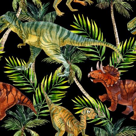 공룡 수채화 원활한 패턴입니다. 정글에서 공룡. 손으로 그린 그림 스톡 콘텐츠