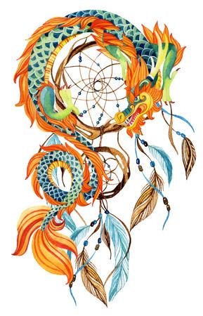 Chinese Draak en Dreamcatcher-kaart. Waterverf etnische dreamcatcher. Traditioneel symbool van draak. Waterverf handgeschilderde illustratie. Stockfoto - 84729075