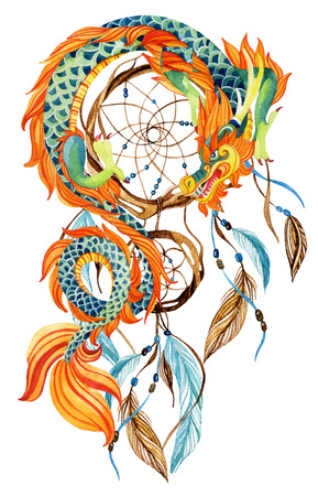 japanese ethnicity: Chinese Dragon and dreamcatcher card. Watercolor ethnic dreamcatcher. Traditional symbol of dragon. Watercolor hand painted illustration.