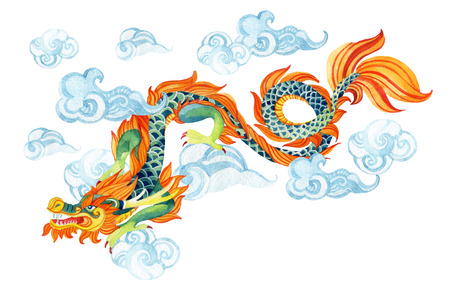 Chinese Dragon. Traditional symbol of dragon. Watercolor hand painted illustration. Standard-Bild