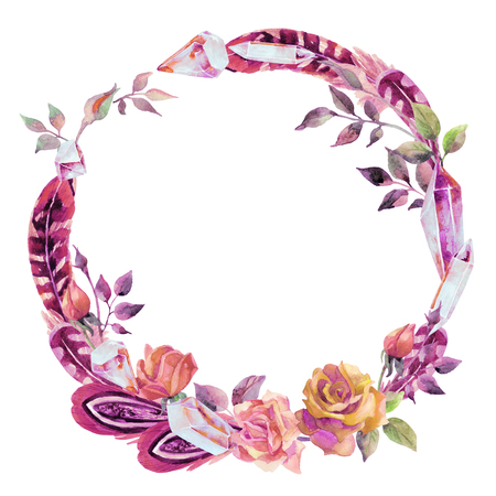 Watercolor crystal gems, feathers and flowers wreath. Hand painted illustration with minerals isolated on white background for your design in boho style.