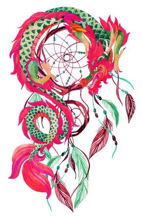 Chinese Dragon and dreamcatcher card. Watercolor ethnic dreamcatcher. Traditional symbol of dragon. Watercolor hand painted illustration.