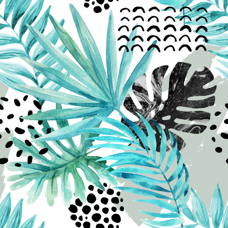 squiggle: Watercolor graphical illustration: tropical leaves, doodle elements, marbling, grunge textures on light background. Floral seamless pattern. Hand painted design