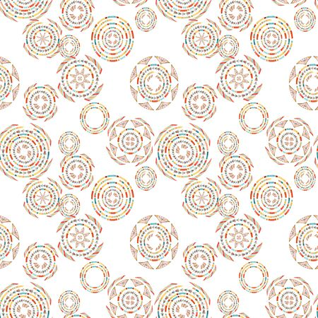 Watercolor tribal elements seamless pattern for ethnic design. Hand painted aztec illustration. Tribal ornament on white background in natural colors
