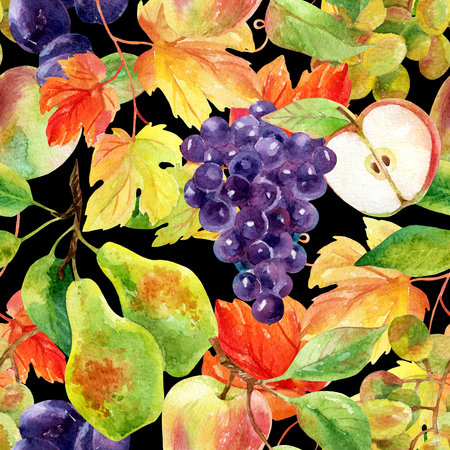 Fruits and berries seamless pattern. Watercolor grapes, apples, pears and plums. Hand painted illustration