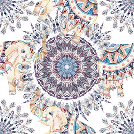Watercolor ethnic elephant and feather mandala background. Abstract feather mandala seamless pattern with ornate indian elephants on white background. Hand painted illustration for boho, tribal design