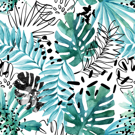 Abstract exotic leaves seamless pattern. Hand drawn tropical summer background: watercolor leaves, leaf contours drawings, silhouette, marble textures, dots. Watercolour art illustration