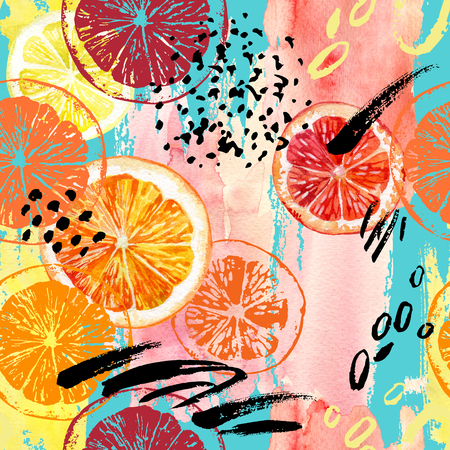 Watercolor orange, lemon, grapefruit seamless pattern. Watercolour exotic fruits, roughly drawn slices, dry ink brush strokes, grunge textures on splash background. Hand painted colorful illustration Foto de archivo