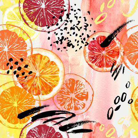 Watercolor orange, lemon, grapefruit seamless pattern. Watercolour exotic fruits, roughly drawn slices, dry ink brush strokes, grunge textures on splash background. Hand painted colorful illustration Imagens