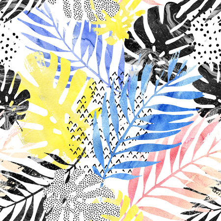 squiggle: Art illustration: trendy tropical leaves filled with watercolor grunge marble texture, doodle elements background. Abstract water color palm, monstera leaf seamless pattern. Hand painted summer design Stock Photo