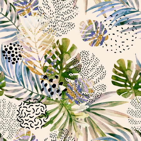 squiggle: Watercolor art illustration: tropical leaves filled with marble texture, doodle elements background. Abstract palm, monstera leaf seamless pattern. Hand painted design in retro vintage colors