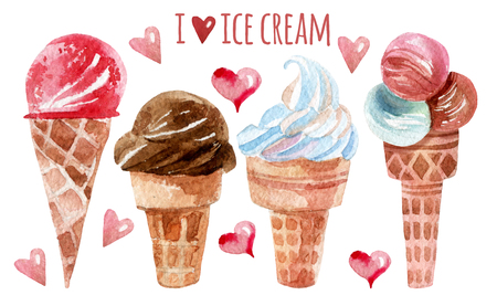Watercolor ice cream set. Hand painted illustration Stock Photo