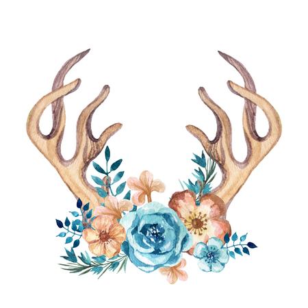 Waterverfgewei met bloemen, bladeren en kruiden. Handgeschilderde herten hoorns illustratie in koude kleuren Stockfoto - 85338745