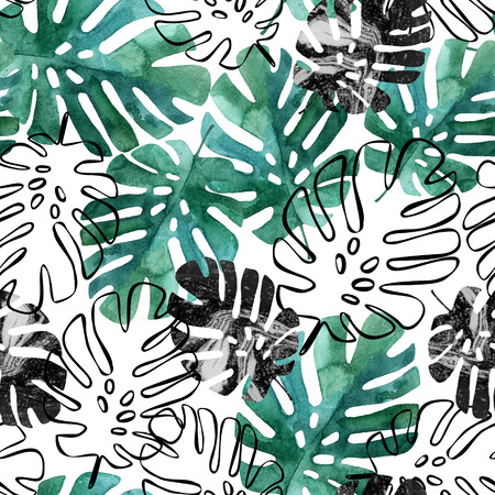 Monstera leaves seamless pattern. Hand drawn tropical summer background: watercolor leaves, leaf contours drawings, silhouette, marble textures. Watercolour art illustration