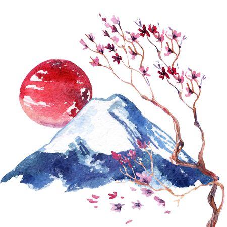 Acuarela Flor De Cerezo Japonés. Flores De Sakura Pintadas A Mano En ...