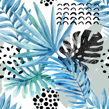 Watercolor graphical illustration: tropical leaves, doodle elements, marbling, grunge textures on light background. Floral seamless pattern. Hand painted design