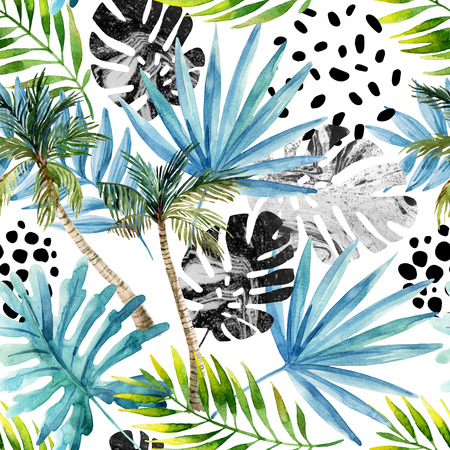 Nature seamless pattern. Hand drawn abstract tropical summer background: palm trees, marbled monstera, fan palm leaves, squiggles, dots in circle. Modern art illustration Stock Photo
