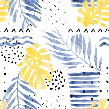 squiggle: Hand drawn illustration with floral elements, watercolor textures, dry rough brush strokes, minimal doodles, geometrical shapes. Art painting, seamless pattern on white background in trendy style
