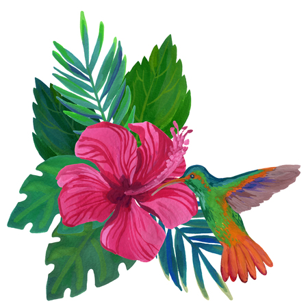 Watercolor humming bird with exotic flowers and leaves