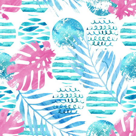 Abstract art illustration in marine style with tropical elements. Geometrical wavy striped circles, watercolor palm, monstera leaves seamless pattern. Hand painted background