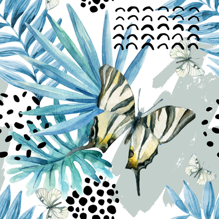 squiggle: Watercolor graphical illustration: exotic butterfly, tropical leaves, doodle elements on grunge background. Abstract palm, monstera leaf seamless pattern. Hand painted design