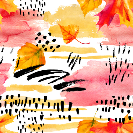 Abstract fall seamless pattern in bright autumn colors. Watercolor painting of falling leaves, ink doodle, watercolour, grunge textures. Floral background for fall design. Hand drawn illustration Stock Photo