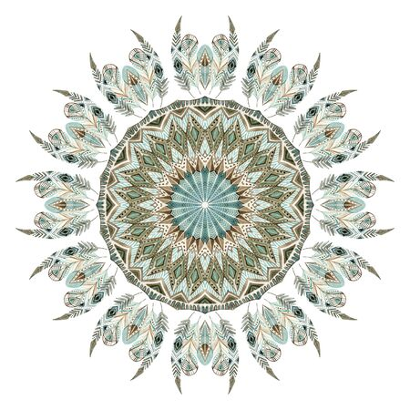 Watercolor ethnic feathers abstract mandala. Lace pattern with ornate feathers with geometric elements isolated on white background. Hand painted illustration for boho, tribal design Stock Photo