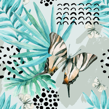 Watercolor graphical illustration: exotic butterfly, tropical leaves, doodle elements on grunge background. Abstract palm, monstera leaf seamless pattern. Hand painted design
