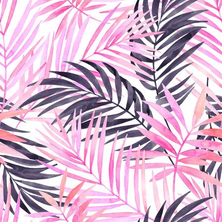 熱帯水彩画は、シームレスなパターンを残します。水彩画ピンク色とグラフィックのヤシの葉。手描きの夏デザインのアート イラスト。水カラーのエキゾチックな背景。 写真素材 - 85205587