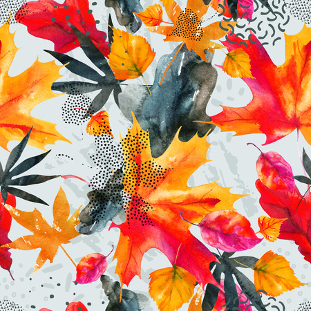 Abstract fall seamless pattern in bright autumn colors. Watercolor graphic painting of falling leaves, ink doodle, grunge textures. Floral background for fall design. Hand drawn illustration Stock Photo