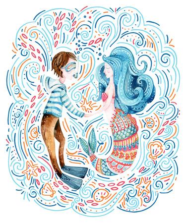 Acuarela marinero y sirena en el amor rodeado de ondas del doodle, estrella de mar, concha marina. Lindos personajes marinos. Ilustración de dibujos animados de mar pintado a mano Foto de archivo - 85319626