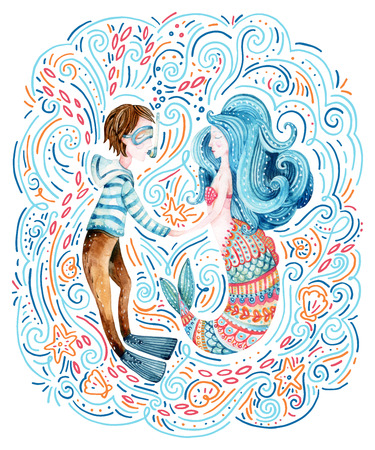 Watercolor sailor and mermaid in love surrounded by doodle waves, sea star, seashell. Cute marine characters. Hand painted sea cartoon illustration