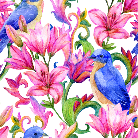 Lily seamless pattern with birds and watercolor painted ornament. Floral background.  Hand painted illustration