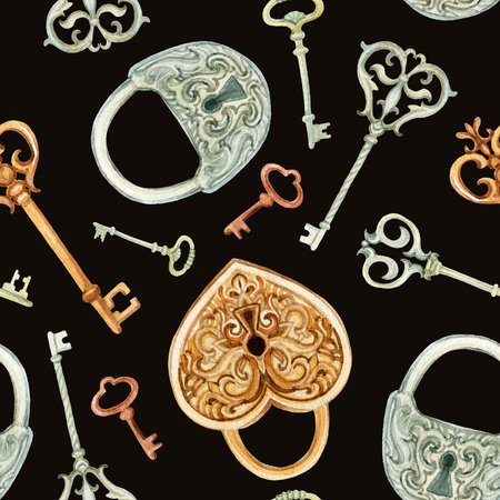 Retro keys and locks seamless pattern. Hand painted illustration on brown background Stock Photo