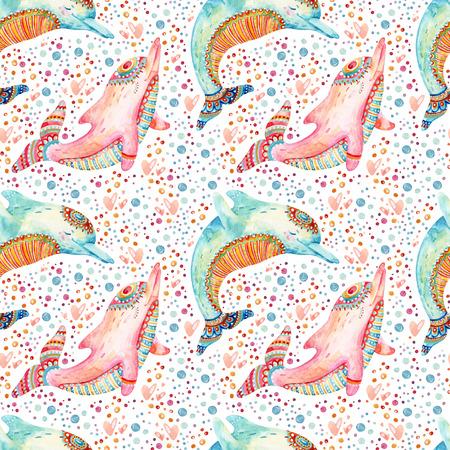 Acuarela encantadora delfines de patrones sin fisuras en el fondo con burbujas. Mamíferos infantiles en estilo de dibujos animados. Ilustración animal lindo pintado a mano Foto de archivo - 86668336