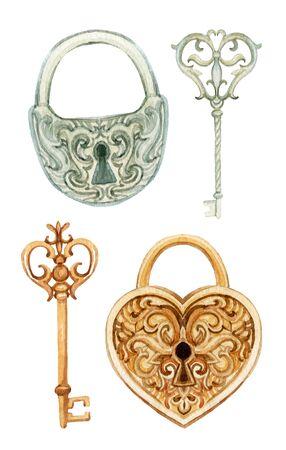 Retro sleutels en vergrendelingen instellen. Antiek sleutel voor uw ontwerp. Handgeschilderde illustratie geïsoleerd op een witte achtergrond