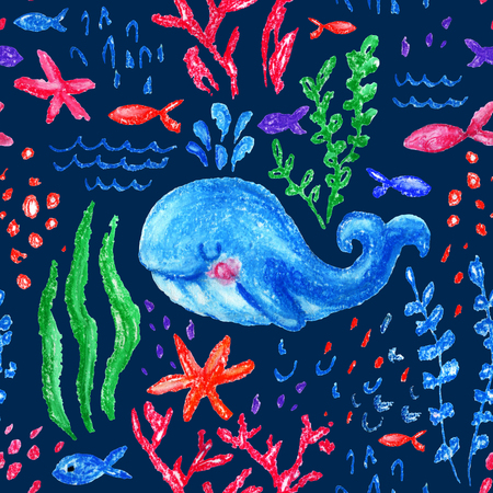 Crayon childlike marin seamless pattern. Underwater sea, ocean life childish drawing. Cute whale, fishes, starfish, corals on white background. Hand drawn bright pastel illustration