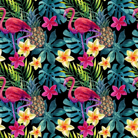 Tropical watercolor pineapple, flamingo, exotic flowers and leaves. Colorful exotic bird, fruit, flower. Pineapple and flowers seamless pattern for summer design. Hand painted watercolor illustration 写真素材