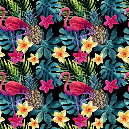 Tropische aquarel ananas, flamingo, exotische bloemen en bladeren. Kleurrijke exotische vogel, fruit, bloem. Ananas en bloemen naadloos patroon voor de zomerontwerp. Handgeschilderde aquarel illustratie