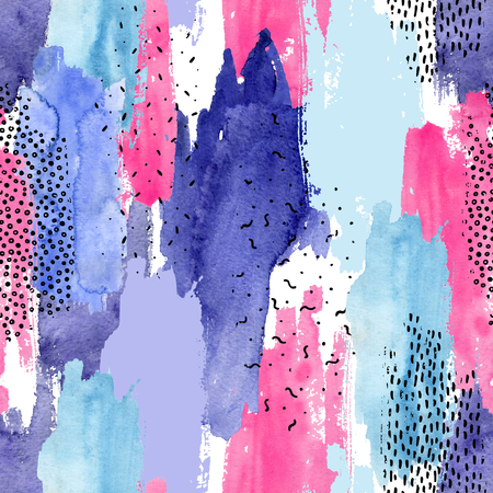 Abstract watercolor and ink doodle shapes seamless pattern. Rough edged stain filled with water color, grunge textures. Trendy background. Hand painted striped illustration Banco de Imagens