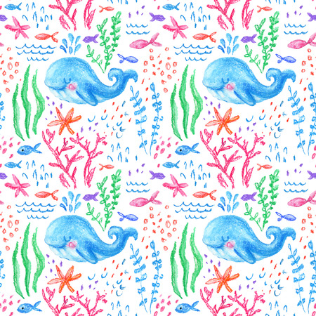 Crayon childlike marin seamless pattern. Underwater sea, ocean life childish drawing. Cute whale, fishes, starfish, corals on white background. Hand drawn light pastel illustration 写真素材