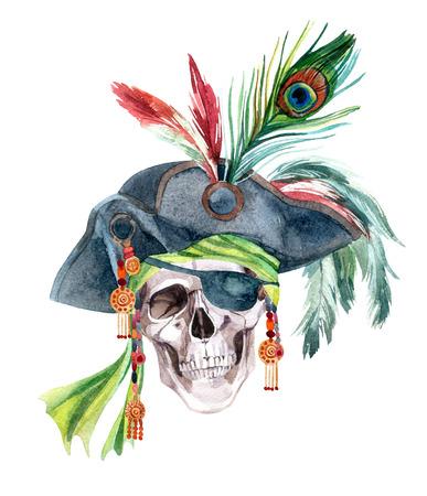 Aquarel piraat schedel in een bandana en een hoed met veren. Handgeschilderde illustratie.