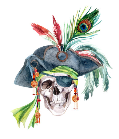 Watercolor pirate skull in a bandana and a hat with feathers. Hand painted illustration.