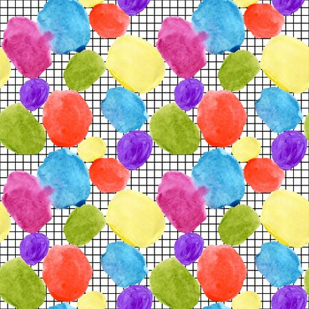 Colorful watercolor stain and grunge texture seamless pattern. Watercolor stain, paint splatter. Abstract watercolor geometrical round shape, grunge grid in pop art style. Abstract geometry background
