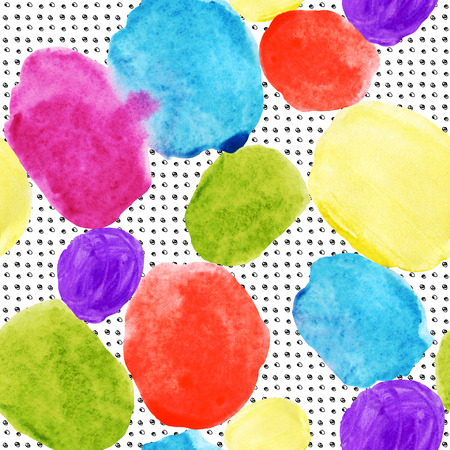 Colorful watercolor stains and grunge texture seamless pattern. Watercolor stain, paint splatter. Abstract geometrical round shape, grunge grid in 80s 90s design style. Abstract geometry background