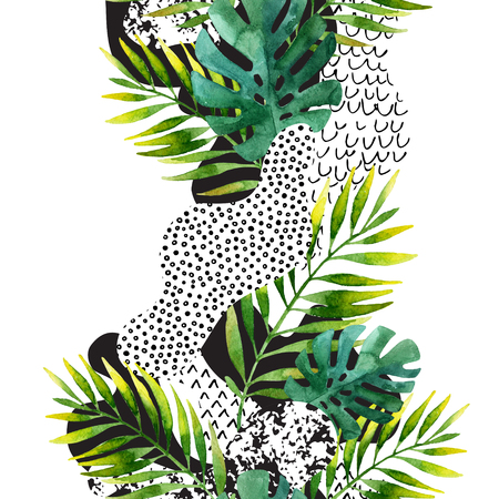 Abstract summer geometric seamless pattern. Watercolor palm, monstera leaves, smooth bend shapes filled with ink grunge, minimal doodle textures on white background. Hand painted tropical illustration Reklamní fotografie