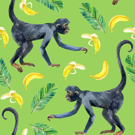 Monkey and banana seamless pattern. A cute monkey and exotic fruits. Watercolor hand painted illustration