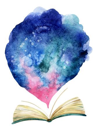 Waterverf open boek met magische wolk. De hele wereld in één boek. Handgeschilderde boekillustratie voor onderwijsontwerp
